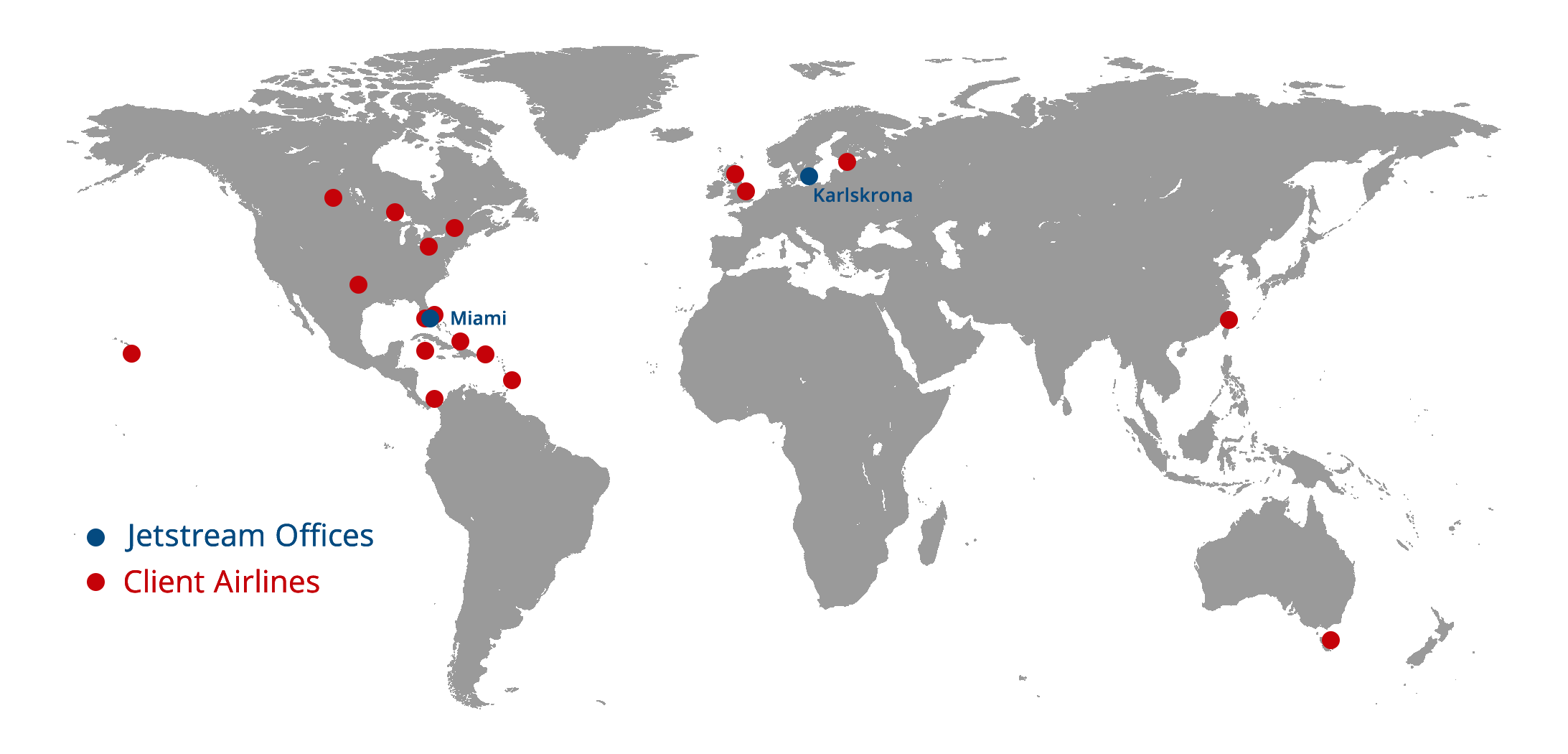 Jetstream Global Office & Client Map